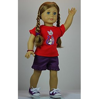 Sparkle Lavender Cat 5 pc Shorts Outfit includes Sneakers and fits 18 inch American Girl dolls.