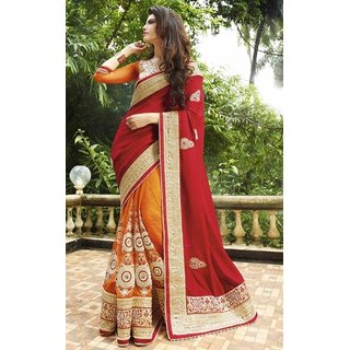 Sudarshan Silks Maroon Geometric Print Georgette Saree with Blouse
