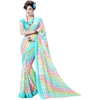 Sudarshan Silks Multicolor Self Design Cotton Saree with Blouse