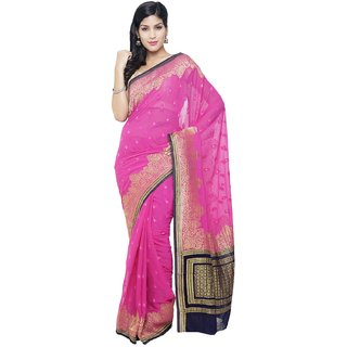 Sudarshan Silks Pink Self Design Chiffon Saree with Blouse