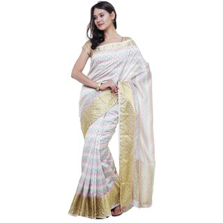 Sudarshan Silks White Self Design Raw Silk Saree with Blouse