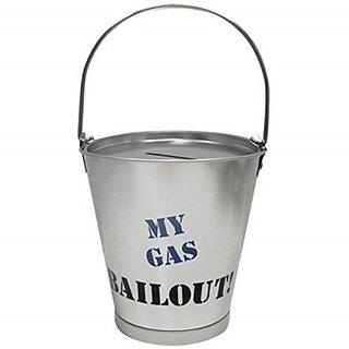 4.25 Inch Gas Bailout Aluminum Silver Bucket Savings Piggy Bank