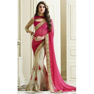Sudarshan Silks Pink Geometric Print Satin Saree with Blouse