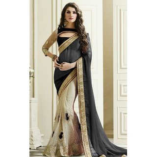 Sudarshan Silks Black Geometric Print Satin Saree with Blouse