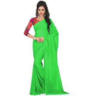 Sudarshan Silks Green Self Design Georgette Saree with Blouse