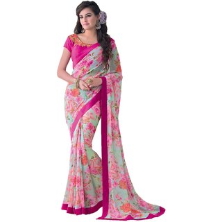 Sudarshan Silks Pink Embroidered Georgette Saree with Blouse