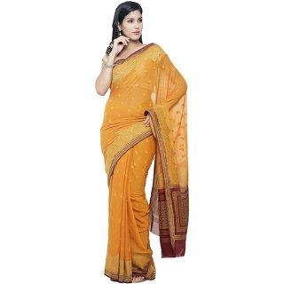Sudarshan Silks Orange Self Design Chiffon Saree with Blouse