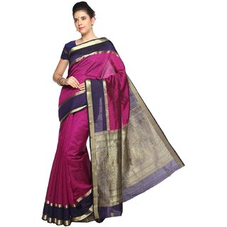 Sudarshan Silks Purple Self Design Raw Silk Saree with Blouse