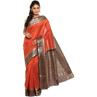 Sudarshan Silks Orange Self Design Tussar Silk Saree with Blouse