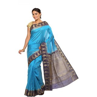 Sudarshan Silks Blue Self Design Tussar Silk Saree with Blouse