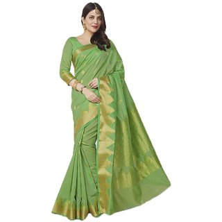Sudarshan Silks Green Geometric Print Cotton Saree with Blouse