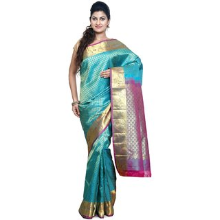 Sudarshan Silks Blue Self Design Silk Saree with Blouse