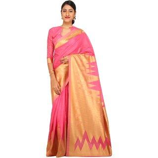 Sudarshan Silks Pink Printed Raw Silk Saree with Blouse