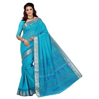 Sudarshan Silks Blue Geometric Print Cotton Saree with Blouse