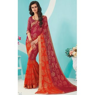 Sudarshan Silks Multicolor Self Design Synthetic Saree with Blouse