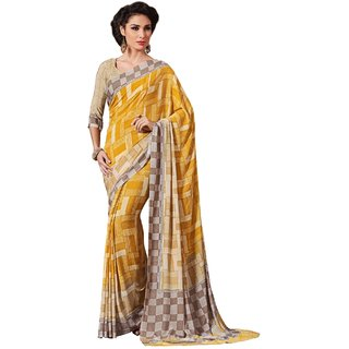 Sudarshan Silks Yellow Geometric Print Crepe Saree with Blouse