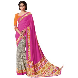 Sudarshan Silks Purple Geometric Print Crepe Saree with Blouse