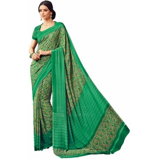 Sudarshan Silks Green Self Design Crepe Saree with Blouse