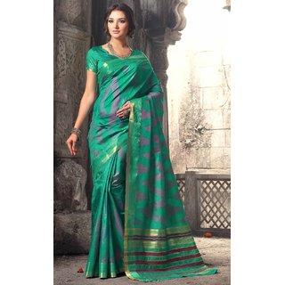 Sudarshan Silks Green Self Design Raw Silk Saree with Blouse