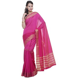 Sudarshan Silks Pink Self Design Raw Silk Saree with Blouse
