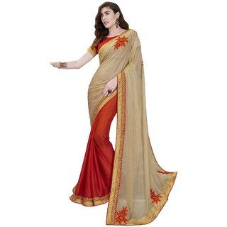 Sudarshan Silks Cream Self Design Crepe Saree with Blouse