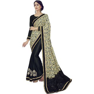 Sudarshan Silks Multicolor Self Design Crepe Saree with Blouse