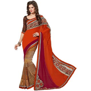 Sudarshan Silks Multicolor Embroidered Chiffon Saree with Blouse