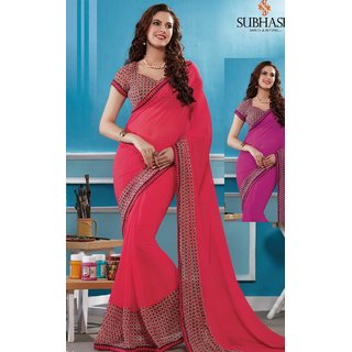 Sudarshan Silks Pink Geometric Print Synthetic Saree with Blouse