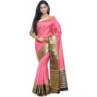 Sudarshan Silks Pink Self Design Raw Silk Saree with Blouse