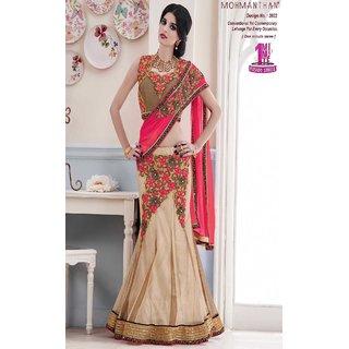 Sudarshan Silks Multicolor Geometric Print Net Saree with Blouse