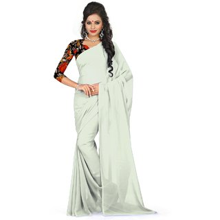 Sudarshan Silks White Self Design Georgette Saree with Blouse