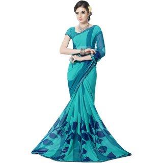 Sudarshan Silks Blue Self Design Cotton Saree with Blouse