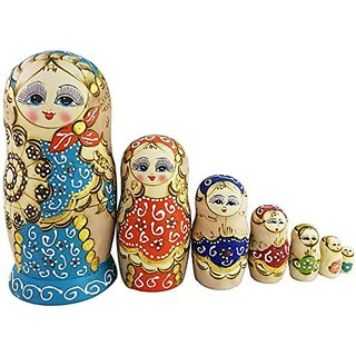 Winterworm New Set of 7pcs Popular Fan Shape Colorful Nesting Dolls Authentic Russian Wooden Matryoshka Children Kids Bi