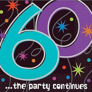 The Party Continuous 60th Birthday Party Beverage Napkins Tableware, Pack of 16, Multi , 5