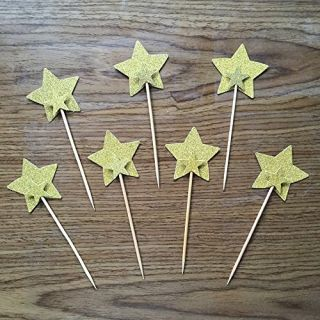 TooMeeCrafts Double Sided Star Topper Gold Glitter Star Wand Cake Topper Cupcake Topper Wedding Cupcake Toppers Set of 2