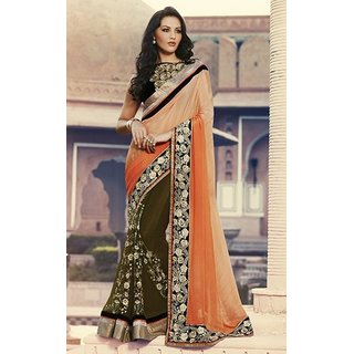 Sudarshan Silks Multicolor Geometric Print Georgette Saree with Blouse