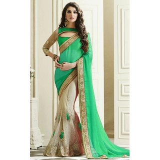 Sudarshan Silks Green Geometric Print Chiffon Saree with Blouse
