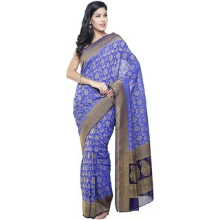 Sudarshan Silks Blue Self Design Chiffon Saree with Blouse