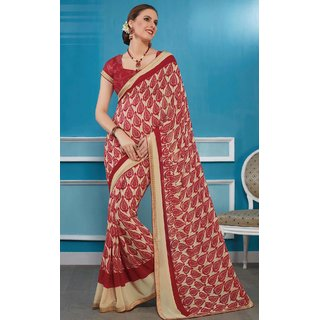Sudarshan Silks Beige Geometric Print Synthetic Saree with Blouse