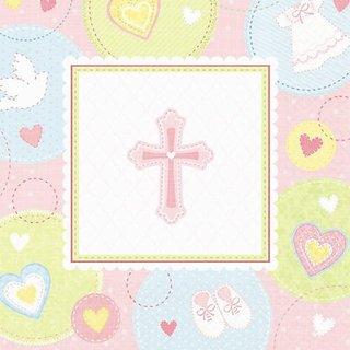 beverage napkins sweet christening pink
