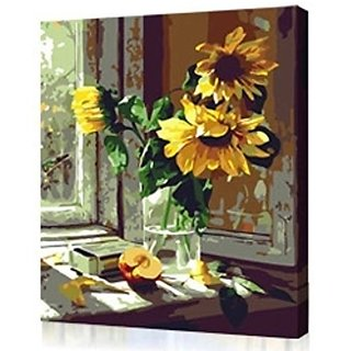 Diy oil painting, paint by number kit- Warm sunflower 1620 inch Frameless.