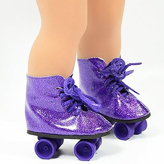 Purple Shimmer Skates made to fit 18 Inch dolls such as American Girl, Madame Alexander, Our Generation, etc.-Pretty Pu