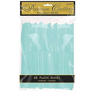 Amscan Party Perfect Cool Plastic Knives (48 Pack), Robins Egg Blue, 11 x 6.8