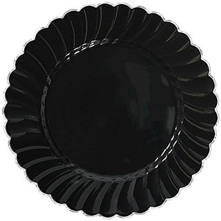 Amscan Classic Scalloped Plastic Party Plate with Metal Trim (10 Piece), 10