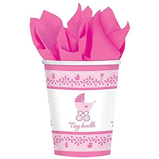 Amscan Sweet Celebrate Baby Girl Paper Cups, 9 oz, Pink White