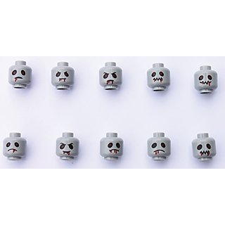 10 Pcs of Zombie lego heads, NO BODY JUST THE HEADS-UV, water and scratch resistant, you can even have them in the bath