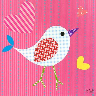 Oopsy Daisy Mod Chick On Hot Pink Stretched Canvas Wall Art by Rachel Taylor, 10 by 10-Inch