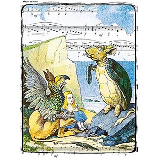 11x14 Alice in Wonderland Decoration, the Mock Turtle and Gryphon, Fine Art Color Sheet Music Art Print 11x14 Inches WMT