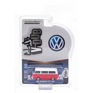 1968 Volkswagen Type 2 Bus Titan Red with Cloud White Series 1 Club V-Dub 1 64 by Greenlight 29790D