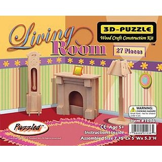 Puzzled Living Room 3D Natural Wood Puzzles (27 Piece)